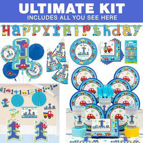All Aboard 1st Birthday Ultimate Tableware Kit Serves 36