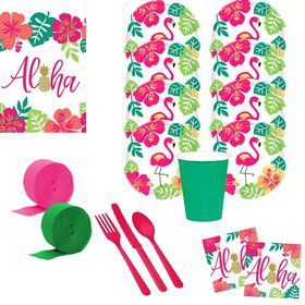 Aloha Flamingo Deluxe Tableware Kit (Serves 8)