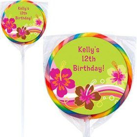 Aloha Luau Personalized Lollipops (pack of 12)