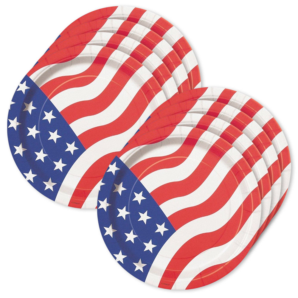 "American Flag 9"" Luncheon Plates (8 Pack) BB21785"