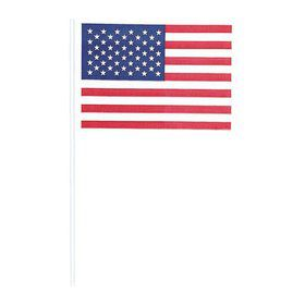 American Flag Cotton W/ Plastic Stick (12 Pack)