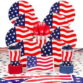 American Flag Party Deluxe Tableware Kit Serves 8