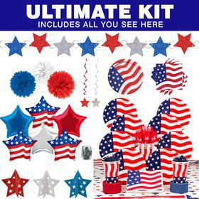 American Flag Party Ultimate Tableware Kit Serves 8