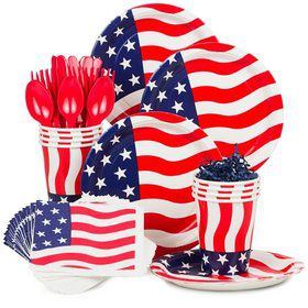 American Flag Standard Tableware Kit Serves 8