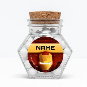 "Armor Man Personalized 3"" Glass Hexagon Jars (Set of 12)"