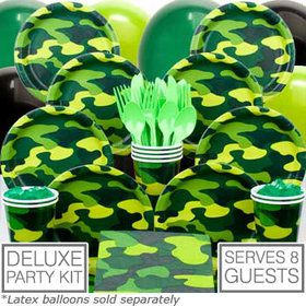 Army Birthday Party Deluxe Tableware Kit Serves 8