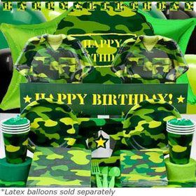 Army Birthday Party Ultimate Tableware Kit Serves 8