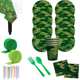 Army Camo Deluxe Tableware Kit (Serves 8)