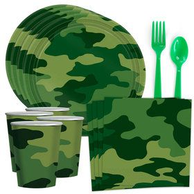 Army Camo Standard Tableware Kit (Serves 8)