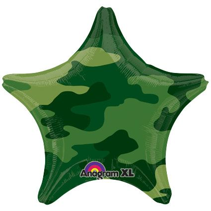 "Army Camo Star 19"" Balloon (Each) - Party Supplies BB32209"