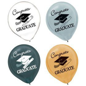 Assorted Congrats Grad Latex Balloons (15)
