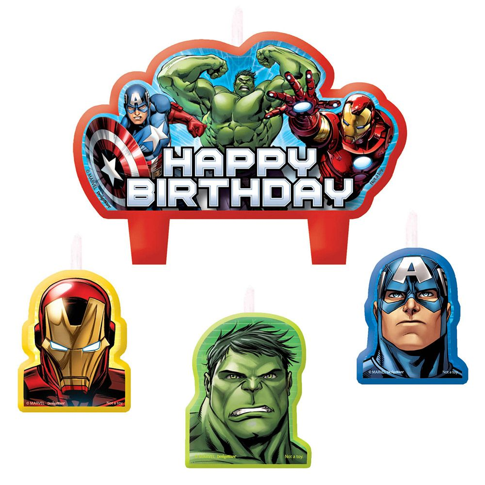 Avengers Birthday Candle Set (4 Pack) - Party Supplies BB171354