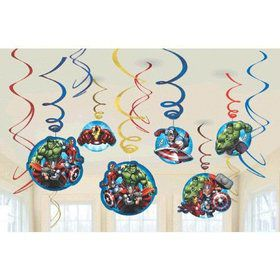 Avengers Foil Swirl Hanging Decorations (12 Pack)