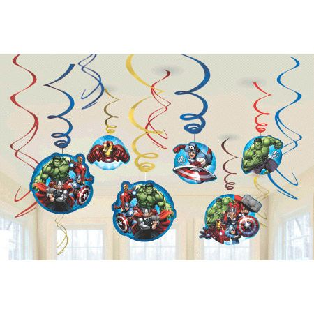 Avengers Foil Swirl Hanging Decorations (12 Pack) BB671354