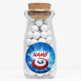 """Avenging Heroes Personalized 4"""" Glass Milk Jars (Set of 12)"""