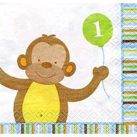 Baby Animals 1st Birthday Boy Beverage Napkins (16-pack)