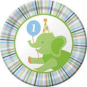 Baby Animals 1st Birthday Boy Cake Plates (8-pack)