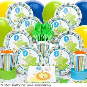 Baby Animals 1st Birthday Boy Deluxe Tableware Kit Serves 8
