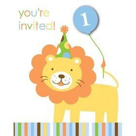 Baby Animals 1st Birthday Boy Invitations (8-pack)