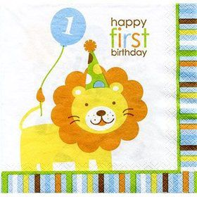 Baby Animals 1st Birthday Boy Napkins (16-pack)