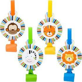 Baby Animals 1st Birthday Boy Party Blowers (8-pack)