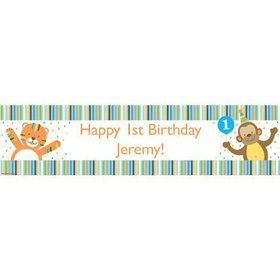Baby Animals 1st Birthday Boy Personalized Banner (Each)