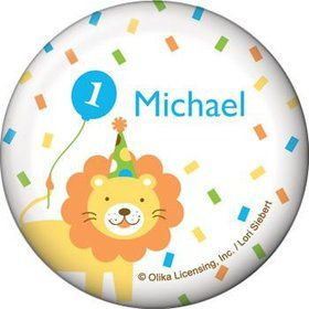 Baby Animals 1st Birthday Boy Personalized Button (each)