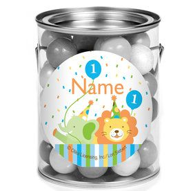Baby Animals 1St Birthday Boy Personalized Mini Paint Cans (12 Count)