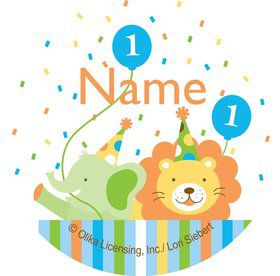Baby Animals 1st Birthday Boy Personalized Mini Stickers (Sheet of 24)