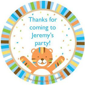 Baby Animals 1st Birthday Boy Personalized Stickers (sheet of 12)