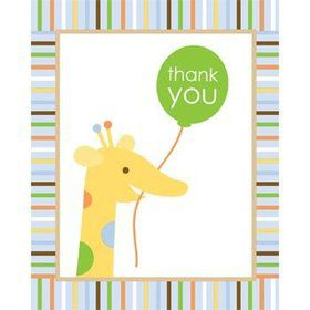 Baby Animals 1st Birthday Boy Thank You Notes (8-pack)