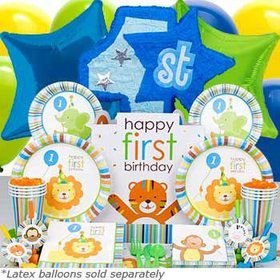 Baby Animals 1st Birthday Boy Ultimate Tableware Kit Serves 8