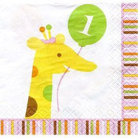Baby Animals 1st Birthday Girl Beverage Napkins (16-pack)