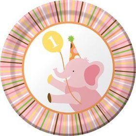 Baby Animals 1st Birthday Girl Cake Plates (8-pack)