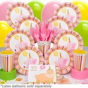 Baby Animals 1st Birthday Girl Deluxe Tableware Kit Serves 8