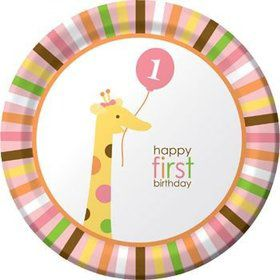 Baby Animals 1st Birthday Girl Dinner Plates (8-pack)