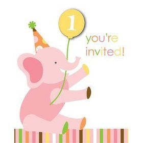 Baby Animals 1st Birthday Girl Invitations (8-pack)