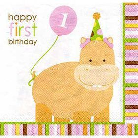 Baby Animals 1st Birthday Girl Napkins (16-pack)
