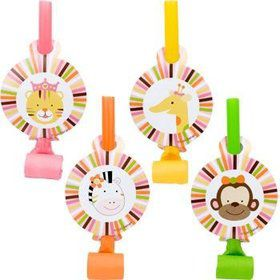 Baby Animals 1st Birthday Girl Party Blowers (8-pack)