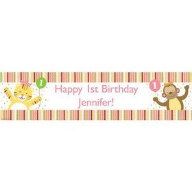 Baby Animals 1st Birthday Girl Personalized Banner (Each)