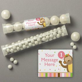 Baby Animals 1St Birthday Girl Personalized Candy Tubes (12 Count)