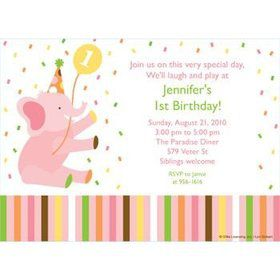 Baby Animals 1st Birthday Girl Personalized Invitation (each)