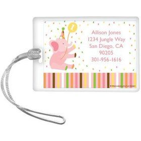 Baby Animals 1st Birthday Girl Personalized Luggage Tag (each)