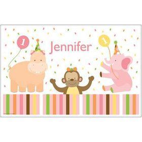 Baby Animals 1st Birthday Girl Personalized Placemat (each)