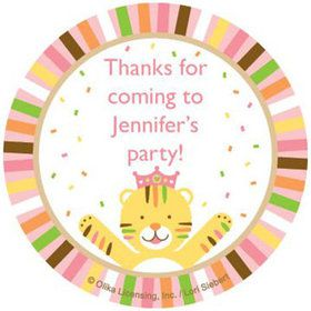 Baby Animals 1st Birthday Girl Personalized Stickers (sheet of 12)