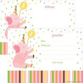 Baby Animals 1st Birthday Girl Personalized Thank You Note (each)