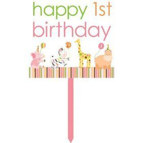 Baby Animals 1st Birthday Girl Sign (each)