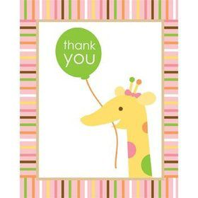 Baby Animals 1st Birthday Girl Thank You Notes (8-pack)