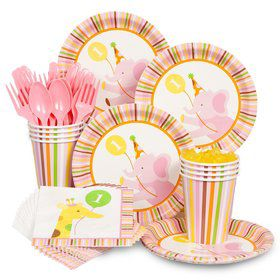 Baby Animals 1st Birthday Party Girl Standard Tableware Kit Serves 8