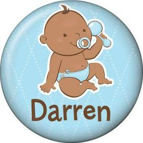 Baby Boy - African American Personalized Mini Button (each)